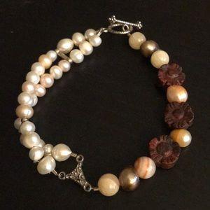 🛍🎉 freshwater pearl & Gemstone Bracelet
